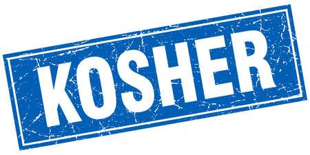 kosher: kosher blue square grunge stamp on white