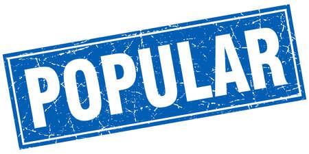 popular: popular blue square grunge stamp on white