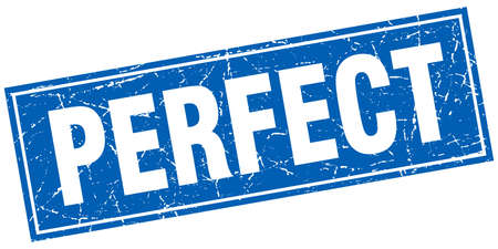 perfect: perfect blue square grunge stamp on white Illustration