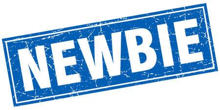 newbie: newbie blue square grunge stamp on white