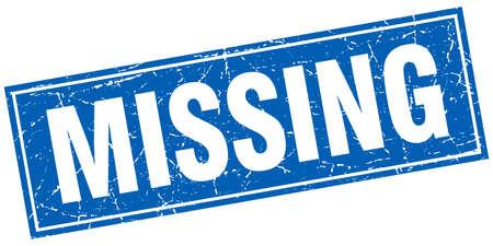 missing: missing blue square grunge stamp on white Illustration