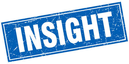 insight: insight blue square grunge stamp on white