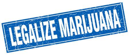 legalize: legalize marijuana blue square grunge stamp on white
