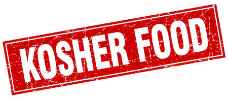 kosher: kosher food red square grunge stamp on white Illustration