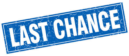 chance: last chance blue square grunge stamp on white Illustration