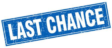 last chance blue square grunge stamp on white Illustration