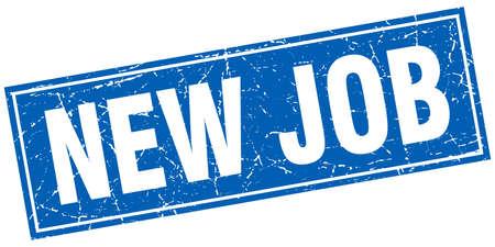 new job: new job blue square grunge stamp on white Illustration