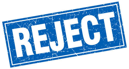 reject: reject blue square grunge stamp on white Illustration