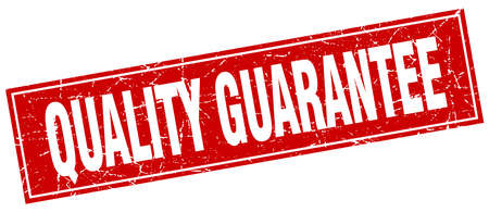 quality guarantee: quality guarantee red square grunge stamp on white