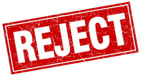 reject: reject red square grunge stamp on white