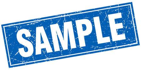 stamp seal: sample blue square grunge stamp on white Illustration