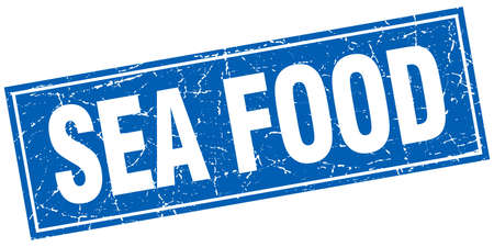 sea food: sea food blue square grunge stamp on white