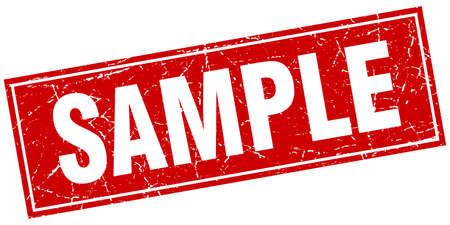 sample: sample red square grunge stamp on white