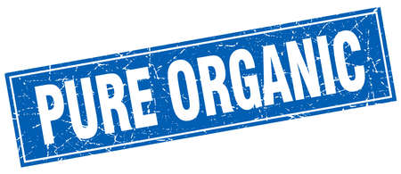pure: pure organic blue square grunge stamp on white Illustration