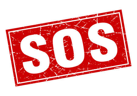 sos: sos red square grunge stamp on white
