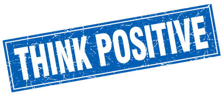 think positive: think positive blue square grunge stamp on white Illustration