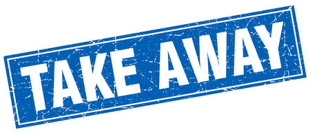 take away: take away blue square grunge stamp on white Illustration