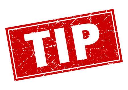 tip rood vierkant grunge stempel op wit
