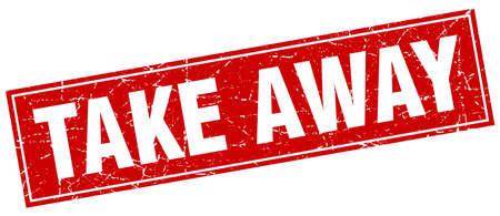 take away: take away red square grunge stamp on white