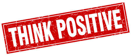 think positive: think positive red square grunge stamp on white Illustration