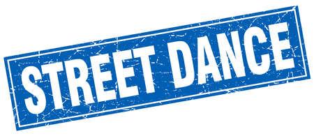 street dance: street dance blue square grunge stamp on white