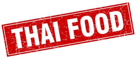 thai food: thai food red square grunge stamp on white