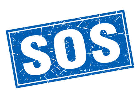 sos: sos blue square grunge stamp on white Illustration
