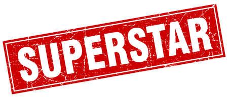 superstar: superstar red square grunge stamp on white Illustration