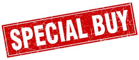 Timbro rosso grunge speciale di acquisto rosso su bianco