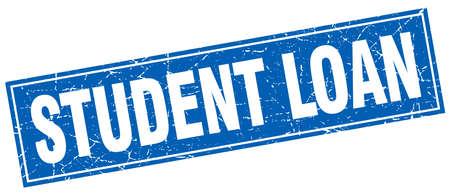 student loan: student loan blue square grunge stamp on white Illustration