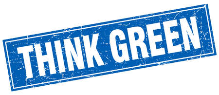think green: think green blue square grunge stamp on white