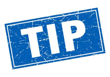 tip: tip blue square grunge stamp on white