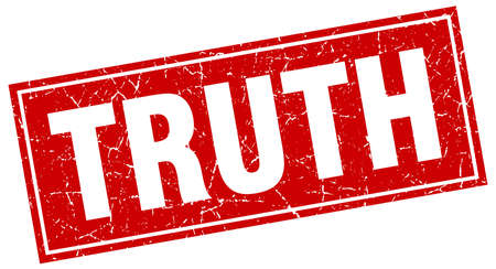 truth: truth red square grunge stamp on white