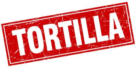 tortilla: tortilla red square grunge stamp on white Illustration