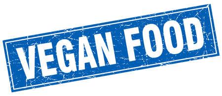 vegan food: vegan food blue square grunge stamp on white