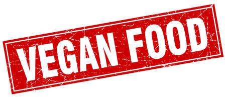 vegan food: vegan food red square grunge stamp on white Illustration