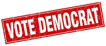 democrat: vote democrat red square grunge stamp on white