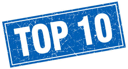 top 10: top 10 blue square grunge stamp on white