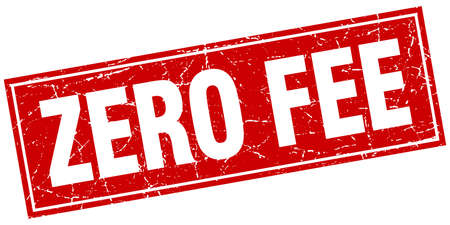 zero fee red square grunge stamp on white 矢量图片