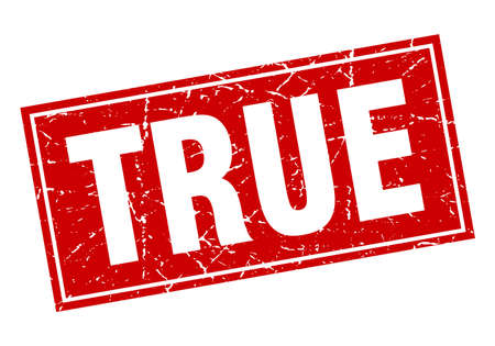 true: true red square grunge stamp on white Illustration