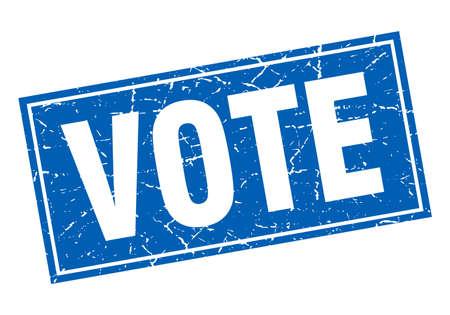 democrats: vote blue square grunge stamp on white