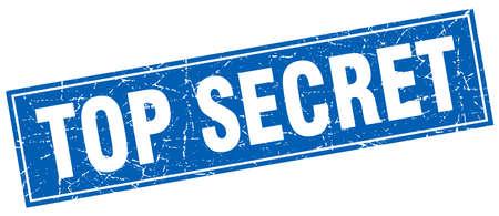 top secret: top secret blue square grunge stamp on white Illustration