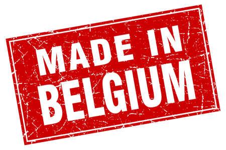 made in belgium: Belgium red square grunge made in stamp Illustration