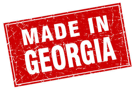 made in: Georgia red square grunge made in stamp