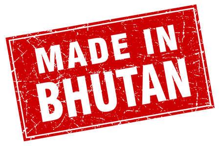 bhutan: Bhutan red square grunge made in stamp