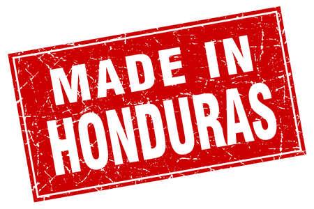 honduras: Honduras red square grunge made in stamp