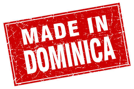 dominica: Dominica red square grunge made in stamp