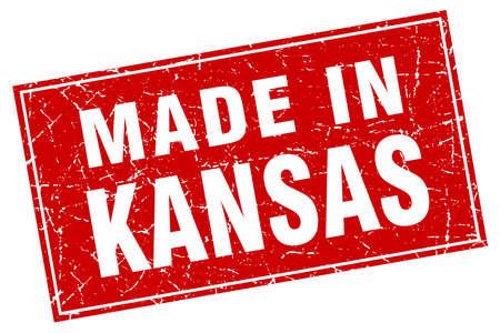 KANSAS: Kansas red square grunge made in stamp