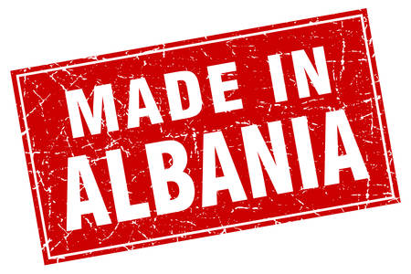 albania: Albania red square grunge made in stamp