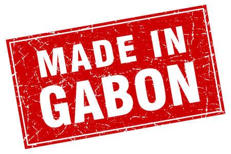 gabon: Gabon red square grunge made in stamp